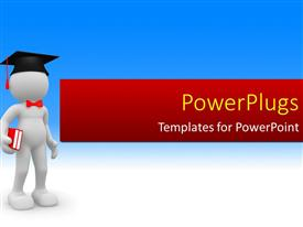 PowerPlugs: PowerPoint template with a graduate holding the books with bluish background