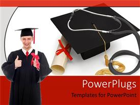PowerPlugs: PowerPoint template with graduate holding diploma, cap, graduation, college, commencement