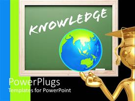 PowerPoint template displaying a graduate holding the globe with green board in the background