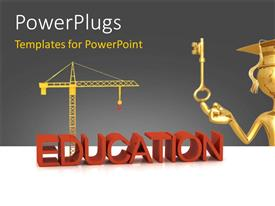 PowerPlugs: PowerPoint template with a graduate with a key and machiney in background