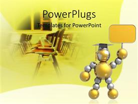 PowerPlugs: PowerPoint template with graduate made out of 3D balls lifting empty banner