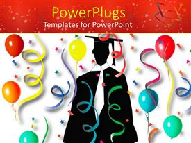 PowerPlugs: PowerPoint template with a graduate in the middle with lots of balloon and celebration material around
