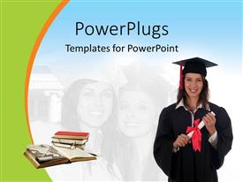 PowerPlugs: PowerPoint template with a graduate with a number books