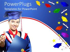 PowerPlugs: PowerPoint template with a graduate with a number of degrees in background