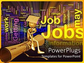 PowerPlugs: PowerPoint template with a graduate sitting on its degree and thinking of job