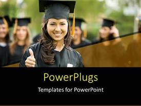 PowerPlugs: PowerPoint template with a graduate smiling and showing thumbs up with blurred background