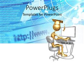 PowerPoint template displaying a graduate working on a computer with bluish background