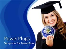 PowerPoint template displaying graduated student girl with robe and graduation cap holding globe in her hand