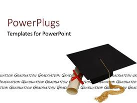 PowerPlugs: PowerPoint template with a graduating cap with a degree and white background