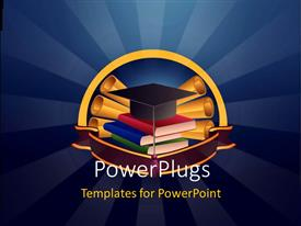 PowerPlugs: PowerPoint template with graduation cap on book pile with certificates on blue background