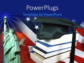 PowerPoint template displaying graduation cap on book pile with statue of liberty against American flag