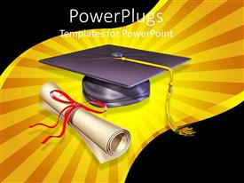 PowerPlugs: PowerPoint template with graduation cap, diploma showing education importance