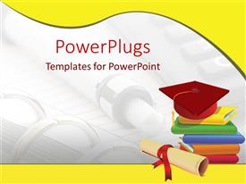 PowerPlugs: PowerPoint template with graduation cap on stack of books, diploma, pen and notebook background, yellow wave border