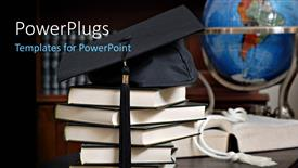 PowerPlugs: PowerPoint template with a graduation cap with a number of law books