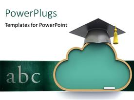 PowerPlugs: PowerPoint template with a graduation cap with the words abc