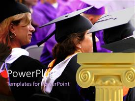 PowerPlugs: PowerPoint template with graduation ceremony with graduands wearing graduation cap and gold pillar