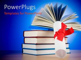 PowerPlugs: PowerPoint template with a graduation degree with a bundle of books