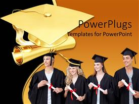 PowerPlugs: PowerPoint template with graduation theme with four graduating students holding diploma and golden graduation cap