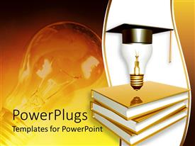 PowerPlugs: PowerPoint template with graduation theme with golden books, a light bulb on top of books with graduation hat, light bulb in the background