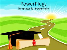 PowerPlugs: PowerPoint template with graduation theme with rolled diploma papyrus and graduating hat on a road through field, light blue sky and glowing sun in the background