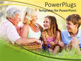 PowerPlugs: PowerPoint template with grand parents having a picnic with their grand children