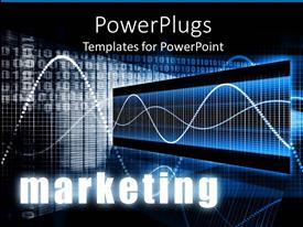PowerPlugs: PowerPoint template with graph curves in blue background with numbers and written marketing