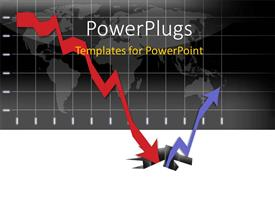 PowerPlugs: PowerPoint template with graph illustrating the world financial crisis and the long way to recovery with world map