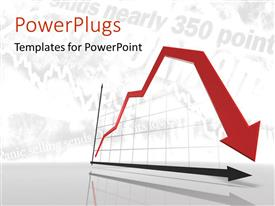 PowerPlugs: PowerPoint template with a graph showing a red declining arrow on a white background