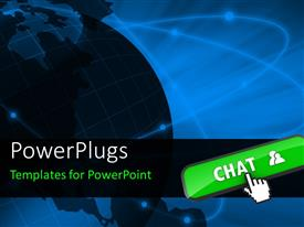PowerPlugs: PowerPoint template with a graphic 3D earth globe and a cursor with a green tab