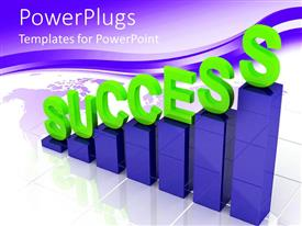 PowerPoint template displaying graphic chart bars with green success word written on top of bars