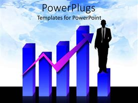 PowerPoint template displaying graphic chart with rising arrow and business man standing on graph bar