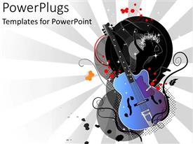 PowerPlugs: PowerPoint template with graphic depiction of guitar  and black silhouette of dancing girl with abstract lines and bubbles on gray and white background