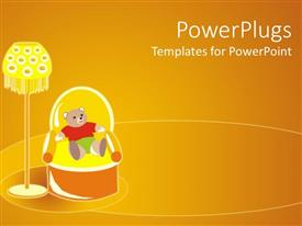 PowerPlugs: PowerPoint template with graphic of teddy bear dressed in colorful clothes sitting in armchair next to lamp on yellow background