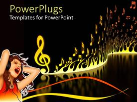 PowerPoint template displaying graphic of young woman with headphones listening to music and singing with flames and music notes on black background with reflective floor