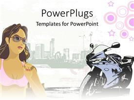 PowerPoint template displaying graphic of young woman in swimsuit wearing sunglasses and motorcycle with city display in the background