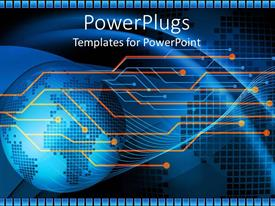 PowerPlugs: PowerPoint template with graphical depiction of blue earth globe on a blue background