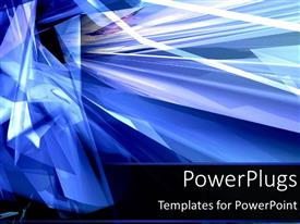 PowerPoint template displaying graphical depiction of crystallized waves on deep blue background