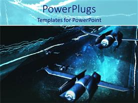 PowerPoint template displaying a graphical depiction of some flying jets on a dark background