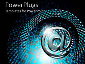 PowerPlugs: PowerPoint template with graphical silver colored @ symbol on a black and blue background