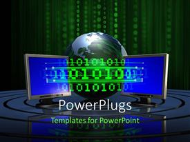 PowerPlugs: PowerPoint template with graphics of an earth globe and some binary numbers
