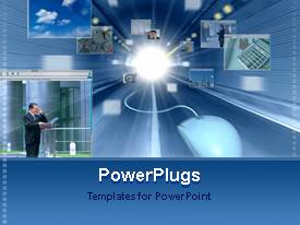PowerPlugs: PowerPoint template with graphics of a man with a wired muse on a blue background