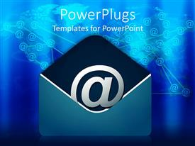 PowerPlugs: PowerPoint template with a graphics of an @ symbol in a blue colored envelope