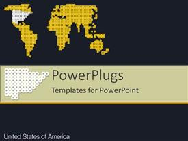 PowerPoint template displaying graphics of a yellow American map on a black background