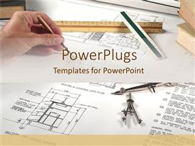 PowerPlugs: PowerPoint template with graphing charts blueprints with ruler architect