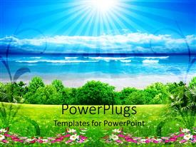 PowerPlugs: PowerPoint template with a grass field with sea and clouds in the background