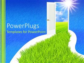 PowerPlugs: PowerPoint template with grass path way leading to a white colored door