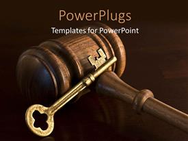 PowerPlugs: PowerPoint template with a gravel with a golden key and brownish background