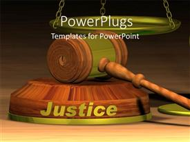 PowerPlugs: PowerPoint template with a gravel with a word justice and balance in background