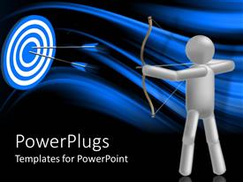 PowerPlugs: PowerPoint template with gray archer figure hits bulls eye