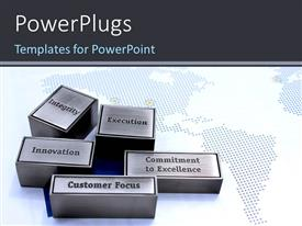 PowerPoint template displaying gray bricks bearing words related to business values